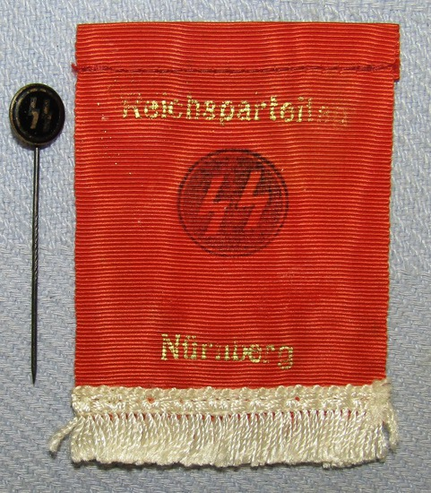 "2pcs-Small Silk SS/Nurnberg ""Tablecloth"" Banner-Enamel SS Member Stickpin"