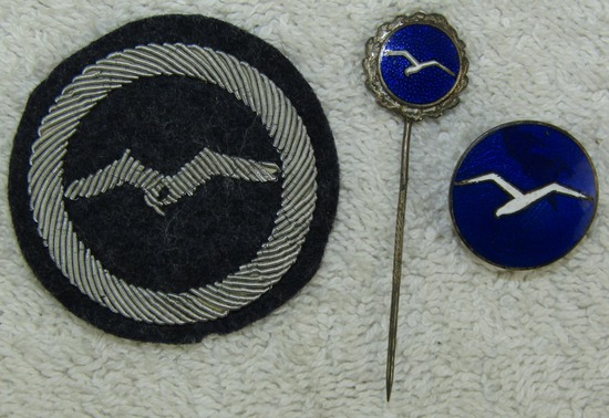 "3pcs- Certificate ""A"" Civil Gliding Proficiency Award Group-Numbered Lapel Badge"