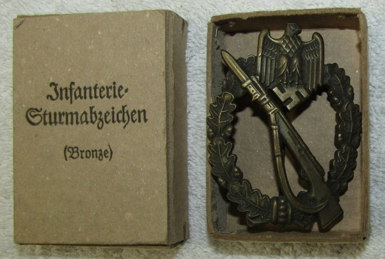 "Infantry Assault Badge In Bronze W/Issue Box-Scarce Maker ""M.K.6."""