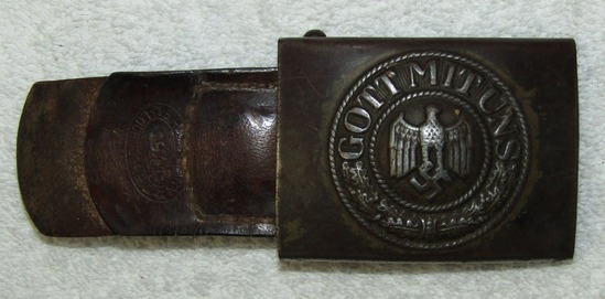 Steel Wehrmacht Belt Buckle W/Tab-Remnants Of Tropical Finish-1941 Dated
