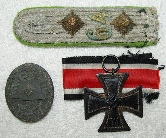 3pcs-Iron Cross 2nd Class-Silver Wound Badge-Panzer Grenadier Officer's Shoulder Board