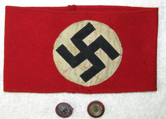 3pcs-Multi Piece NSDAP Wool Armband-Painted Version NSDAP Member Pin-Political Visor Cockade