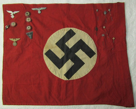 Ww2 Vet Bringback-Small NSDAP Banner With Vet Applied Insignia