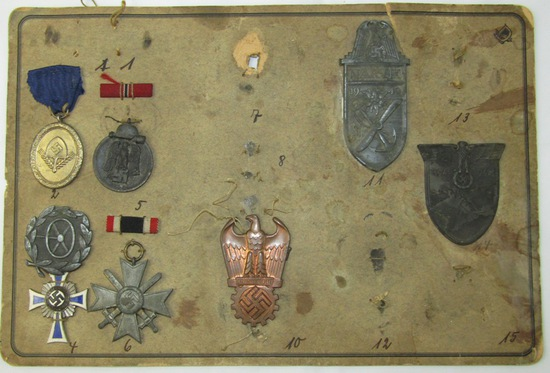 WW2 German Medal Board By Deumer-Fritz Todt Badge-Narvik/Krim Shields Etc.