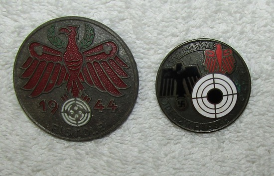 2pcs-Marksman Award Badges-Tyrol Pistol Badge Dated 1944-41/42 Dated W.H.W. Badge