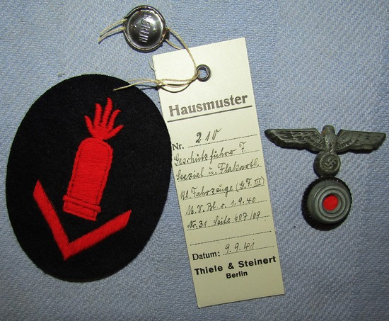 2pcs-Kriegsmarine Light Artillery Gun Chief patch W/Factory Tag-Eagle/Cockade Device For Round Cap