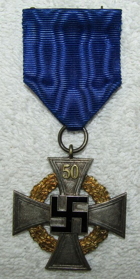 Rare Nazi 50 Year Civil Service Medal