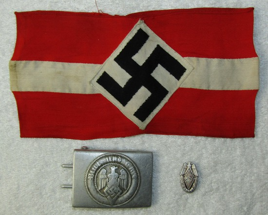 3pcs-Hitler Youth Armband-Belt Buckle-1937 HJ Rally Badge
