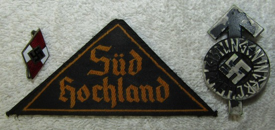 3pcs-Hitler Youth Member Pin-District Patch W/RZM Tag-Numbered Proficieny Badge