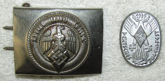 2pcs-Stamped Steel Hitler Youth Buckle With Scarce maker RZM M4/23 (Dr. Franke)-Jugenfest Badge