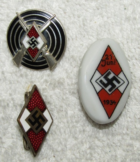 3pcs-Hitler Youth Marksman Badge-Member Pin-Porcelain Rally Pin