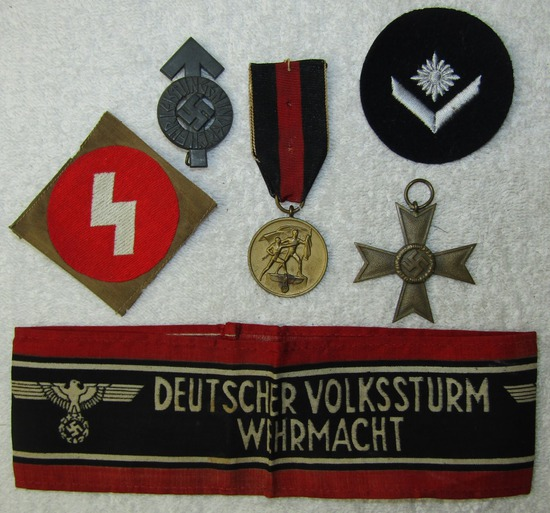 JUST ADDED! 6pcs-Hitler Youth Insignia-Annex Medal-War Merit Cross-Volkssturm Armband