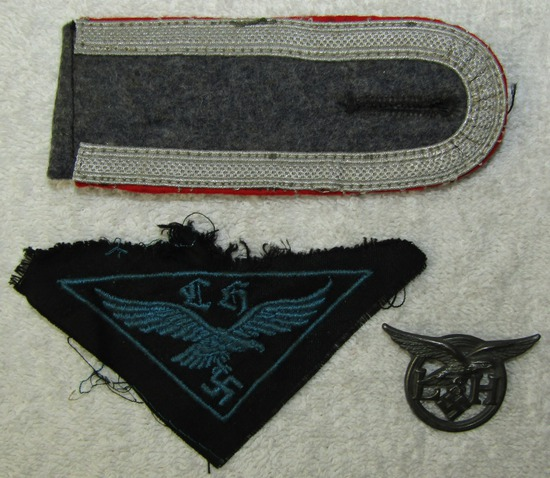 3pcs-Uniform Removed Luftwaffe Helper's Patch-LH Cap Device-Single Flak Shoulder Board