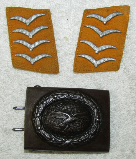 3pcs-Luftwaffe Steel Combat belt Buckle-Pr. Luftwaffe Flight/Paratroops Hauptgefreiter Collar Tabs