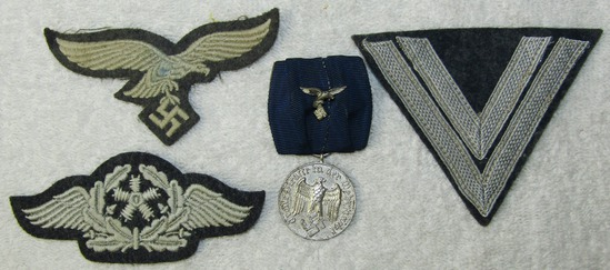 4pcs-Misc. Luftwaffe Insignia-Cap Eagle-Aircraft Mechanic-4yr Service Medal W/Ribbon Device