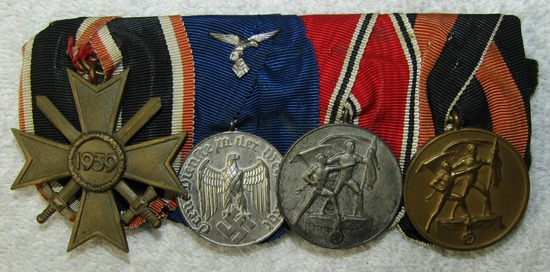 4 Place Parade Mount Medal Bar-War Merit 2nd Class-Luftwaffe 4 yr Service-Austrian/Czech Medals