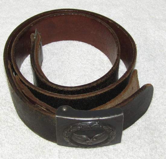 Luftwaffe Combat Belt With leather Tab Steel Buckle-Tab Is Dated 1940