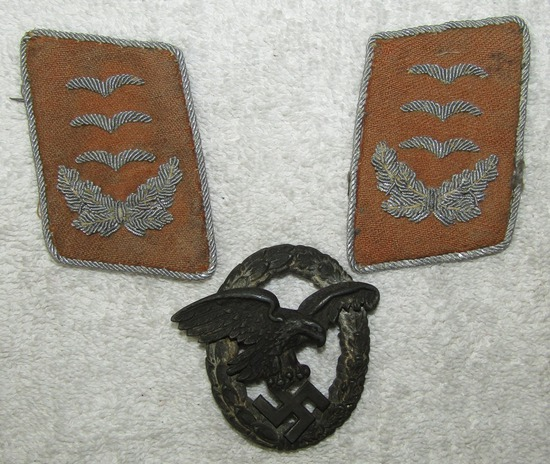 3pcs-Luftwaffe Collar Tabs For Signals Hauptmann-Observer Badge By Meybauer