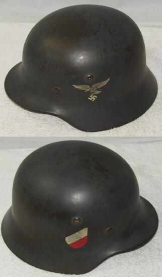 "Luftwaffe Double Decal M35 Helmet-""Straight Leg"" Adler-Soft Leather Liner"
