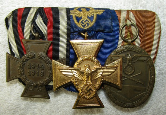 3 Place parade Mount Medal Bar-WW1 Honor Medal-Nazi Police 25yr Service Medal-West Wall Medal