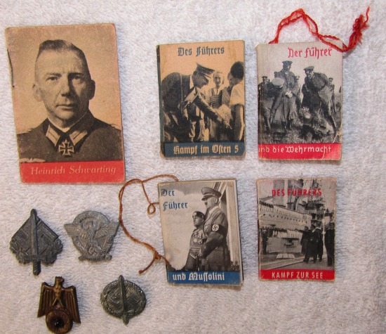 9pcs-Misc. Miniature W.H.W. Propaganda Booklets/Donation Pins