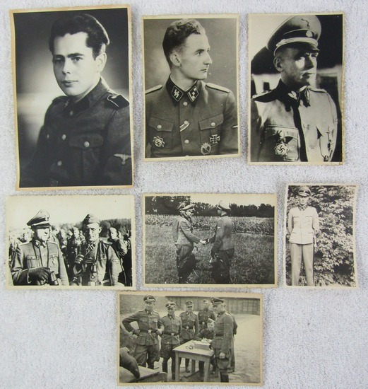 7pcs-Original WW2 Period Waffen SS Officer/Enlisted B&W Snap Shots