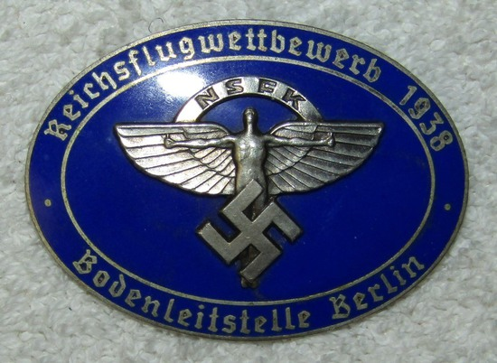1938 NSFK Enameled Badge For Berlin Ground  Control Official During Flight Competition