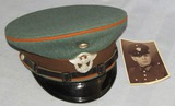 Nazi Rural Police Visor Cap For Enlisted With Photo Postcard Showing In Wear