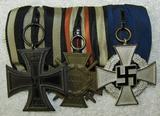 WW1/WW2 Three Place Parade Mount Medal Bar