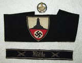 3pcs- German Kyffhauserbund Member Armband-Mitte Cuff Title-Kyffhauserbund Marksman Badge