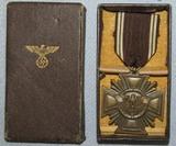 WW2 Period NSDAP 10yr Long Service Award Medal In Bronze-Light Version W/Issue Box