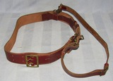 Rare Reddish-Brown Leather Belt With Cross Strap For Higher Ranks SA And/Or NSDAP-Gilt Fittings