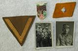 4pcs-Original SA Soldier Photographs-Mitte/Sudwest Collar Tab For Scharfuhrer-Chevron-Rally Badge