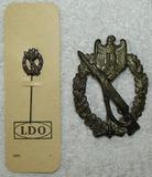 2pcs-Stamped Version Silver Infantry Assault Badge-IA Badge In Bronze LDO Stickpin