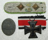 3pcs-Iron Cross 2nd Class-Silver Wound Badge-Panzer Grenadier Officer's Shoulder Board