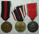 3pcs-Pre/Early WW2 Austrian/Czech Annex Medals-War Merit Cross 3rd Class