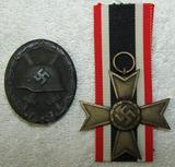 2pcs-Silver Wound Badge-War Merit Cross 2nd Class W/O Swords