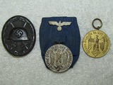 3pcs-Black Wound Badge-Heer 4 & 12 Year Service Medals