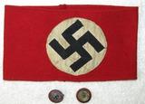 3pcs-Multi Piece NSDAP Wool Armband-Painted Version NSDAP Member Pin-Political Visor Cockade