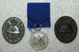 3pcs-Black & Silver Wound Badges-Wehrmacht 4 Year Service Medal W/Ribbon