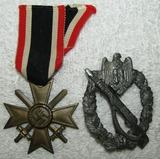 2pcs-Heer Infantry Assault Badge In Silver-2nd Class War Merit Cross W/Swords