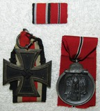 2pcs-Iron Cross 2nd Class-Eastern Front Medal-2 Place Ribbon Bar