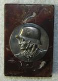 WW2 German Soldier Metal Desk Plaque On Thick Brown Swirl Italian Marble