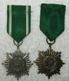 2pcs-WW2 Period 2nd Class Eastern Peoples Silver & Bronze Medals W/Swords