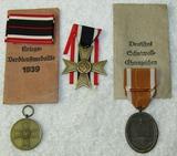 3pcs-War Merit 2nd & 3rd Class Awards-West Wall Service Medal