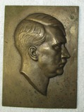 Rare Early 3rd Reich Bronze Hitler Head Side Profile Plaque Device-Dated 1934