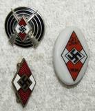 3pcs-Hitler Youth Marksman Badge-Member Pin-Porcelain Rally Pin