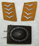 3pcs-Luftwaffe Steel Combat belt Buckle-Pr. Luftwaffe Flight/Paratroops Hauptgefreiter Collar Tabs