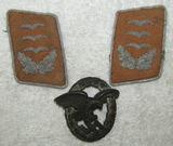 3pcs-Luftwaffe Collar Tabs For Signals Hauptmann-Observer Badge By Meybauer