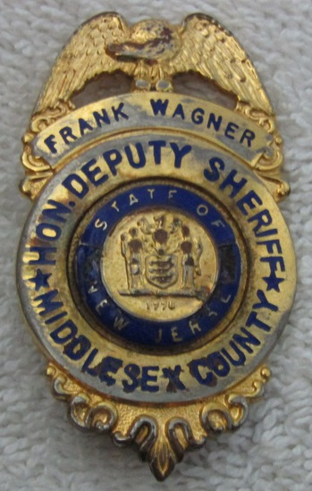 "1940-50's Vintage ""MIDDLESEX COUNTY, NJ. HON. DEPUTY SHERIFF"" Badge-Named-Wagner"